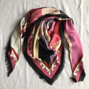 Emilio Pucci Pink, Black Triangle Shaped Scarf